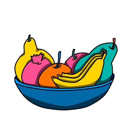 Fruits in the vase, coloured vector illustrations. Garnet, orange, pears and bananas.