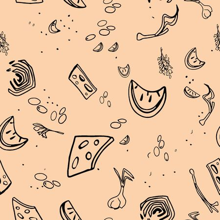 Seamless pattern with spices on background. Spices and herbs made in vector.