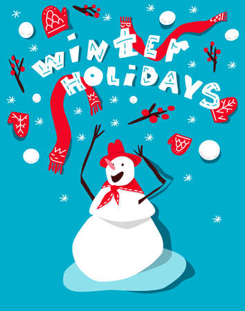Creative typography for holiday greeting. Winter holidays lettering with snowman vector illustration.