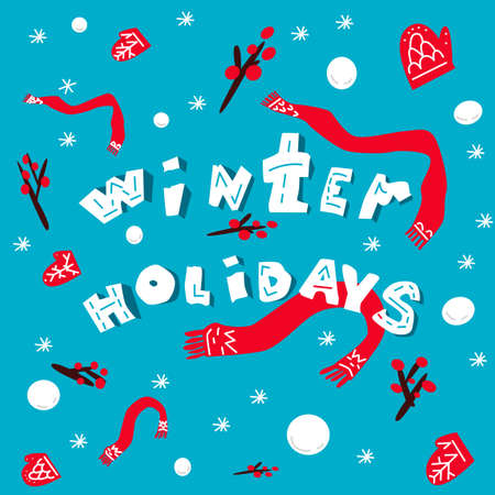 Abstract Happy holidays card with scarves and mittens on blue background.