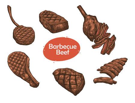 illustration of barbecue beef meat set design
