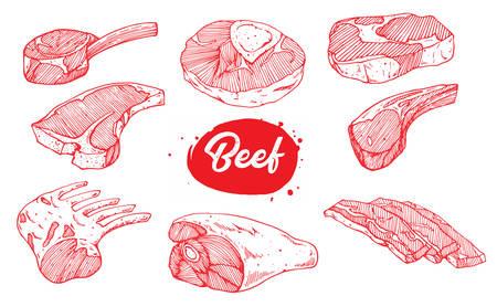 illustration of beef meat set design Ilustracja