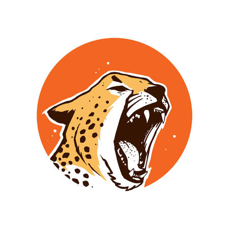 cheetah roar with hand draw style Vector Illustration