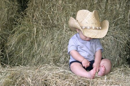 barefoot cowboy: Baby Cowboy in the Hay