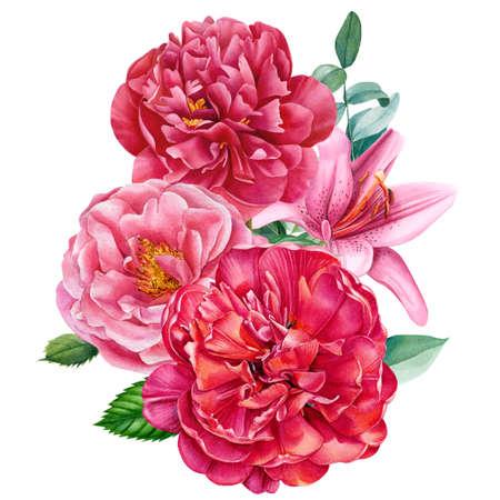 Elegant watercolor flowers, bouquet of rose, peony, lily Standard-Bild