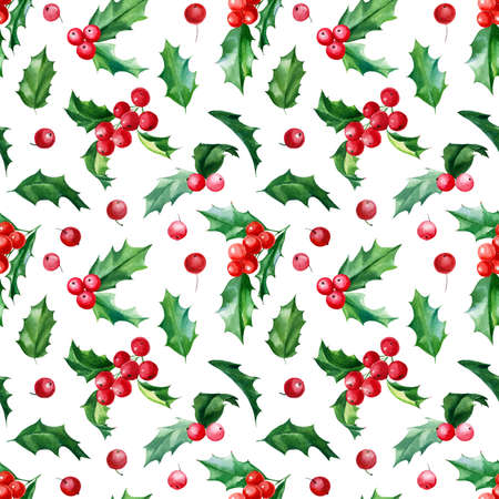Christmas Seamless pattern, new year background, holly leaves and berries, watercolor hand drawn illustration