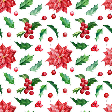 Seamless pattern, Christmas holly and poinsettia flowers, hand drawn watercolor illustration Banco de Imagens