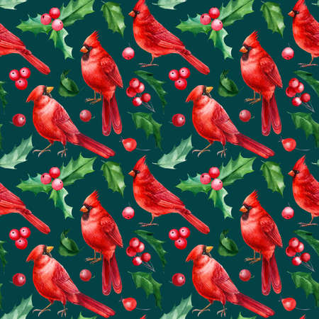 Red birds, Christmas holly leaves, berries, red cardinal, watercolor hand drawn. New year background. Seamless pattern