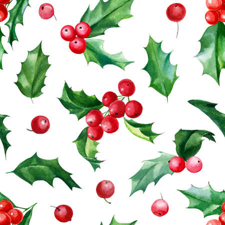 Seamless pattern, Christmas holly, watercolor hand drawn illustration, new year background