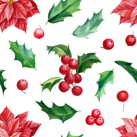Christmas holly branches and poinsettia flowers, seamless pattern, watercolor illustration