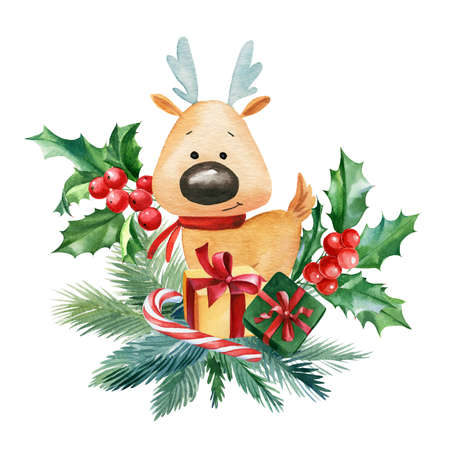 Christmas composition. Deer, holly leaves, gifts, bowson a white background, watercolor illustration