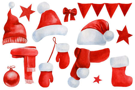 Red Set of Christmas watercolor doodles,, hat, mittens, socks, stars, scarf, garland, flags, ribbon, bow