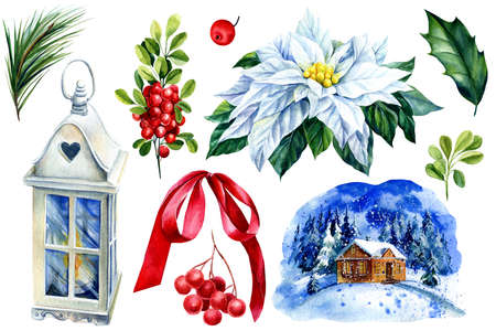Festive set of red bow, flashlight, wight poinsettia flowers, mountain ash berry, pine branch watercolor illustration Imagens