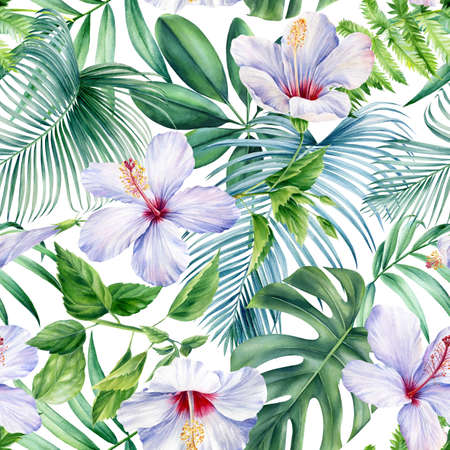 Palm leaves, tropical flowers on white background, watercolor botanical illustration. Seamless patterns. Zdjęcie Seryjne