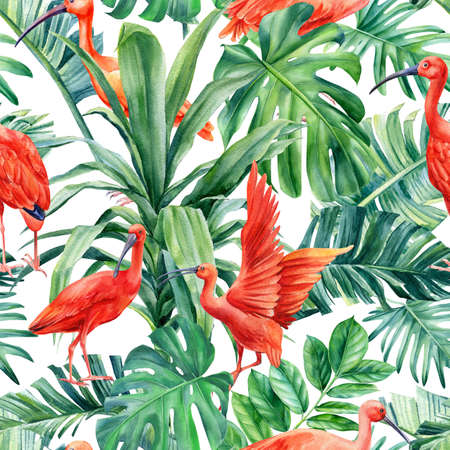Tropical palm leaves and ibis birds on an isolated background. Watercolor illustration, seamless pattern