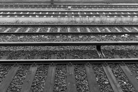 wood railroads: Old line in a station in Germany