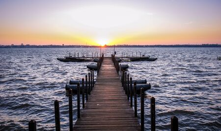 floating bridge: Floating dock on a river south america Stock Photo