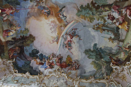 nymphenburg palace: ceiling frescoes in central pavilion of the Nymphenburg palace in Munich