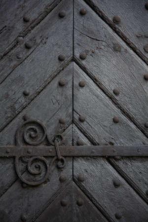 wood carving door: Old door close-up Stock Photo