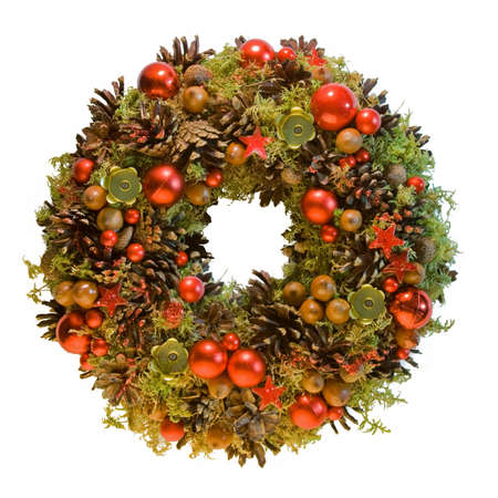 pine wreath: Red Christmas wreath from natural eco materials Stock Photo