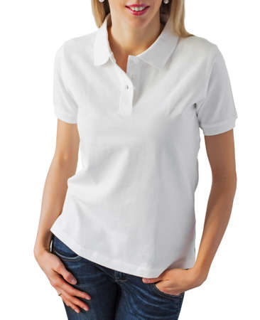 Woman wearing blank white polo shirt