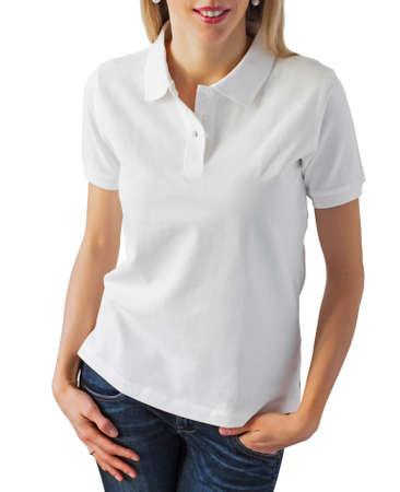 shirt: Woman wearing blank white polo shirt
