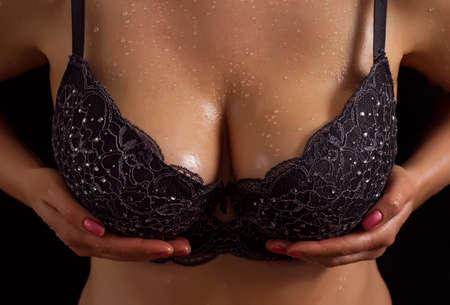 boobs: Big boobs in black bra