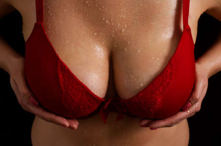 boobs: Big boobs in red bra