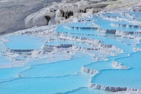 natural pool: Travertine pools and terraces in Pamukkale, Turkey