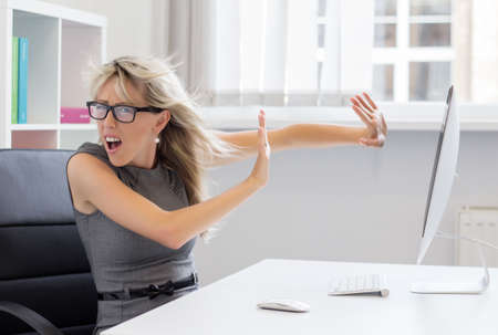 Overworked and stressed young woman can t handle that workload anymore