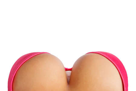 big breast woman: Big breasts in pink bra from above