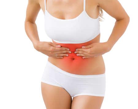 rheumatoid: Woman having pain in stomach