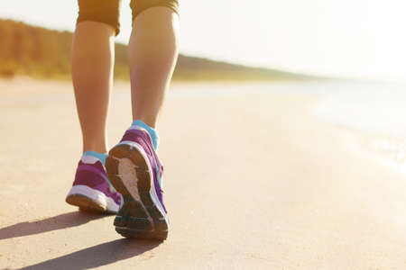 Running on the beach in early morning