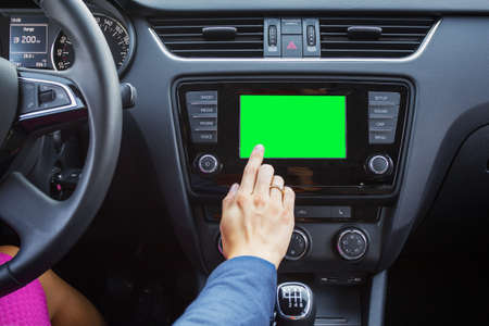 Blank screen of a modern cars multimedia system photo