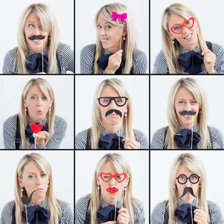 composite image: Collage of woman making funny faces Stock Photo