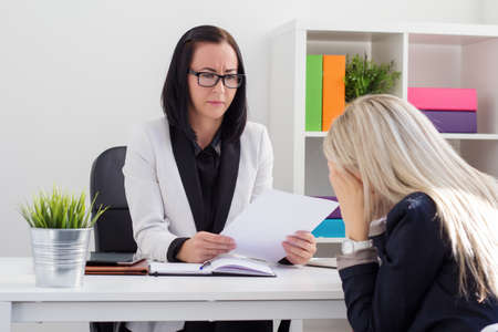 lady boss: Dismissal or failed job interview concept Stock Photo