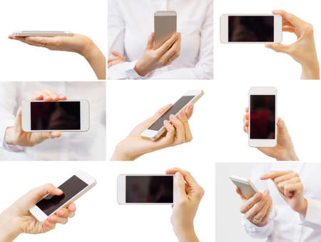 technology collage: Woman holding mobile phone, collage of different photos