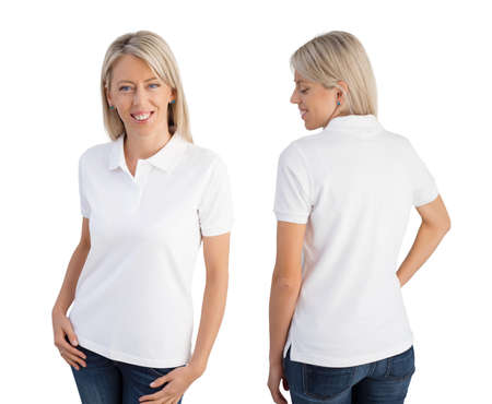 Woman wearing white polo shirt, front and back views