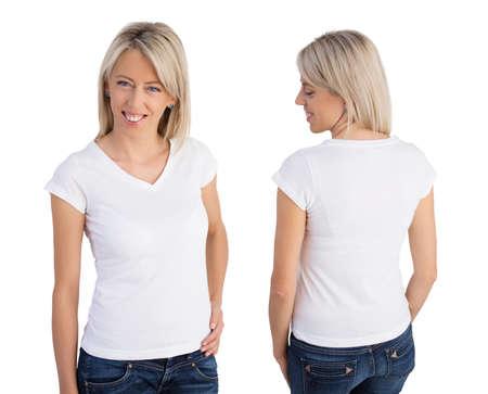 女性が身に着けている白 v ネック t シャツ、フロントと背面図