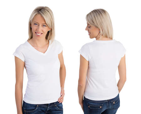advertising woman: Woman wearing white v-neck t-shirt, front and back views Stock Photo