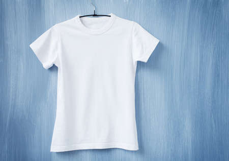 blank t shirt: White t-shirt on hanger