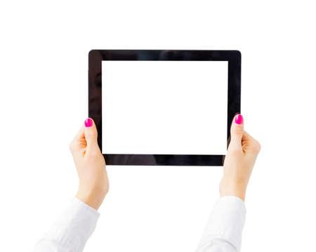 Woman holding tablet computer horizontally Stock Photo