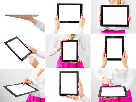 blank tablet: Woman holding tablet computer, collage of different photos Stock Photo