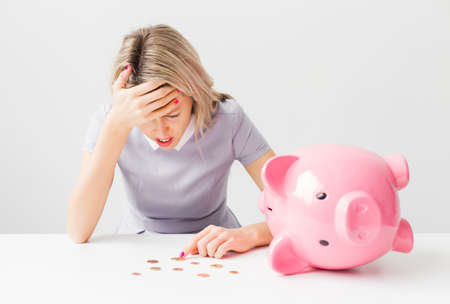 stressed woman: Woman having financial problems