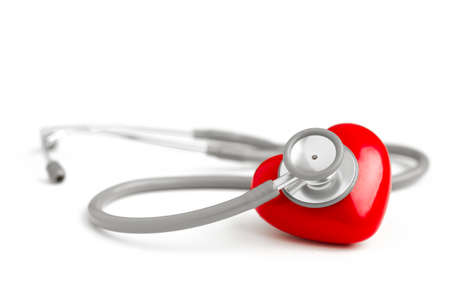 stethescope: Stethoscope and red heart isolated on white background