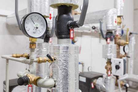 water plant: Manometer and heating pipelines