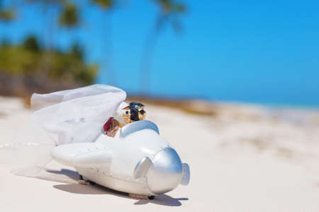 newly weds: Bride and groom in small wedding plane model on the beach