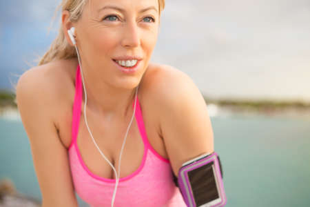 excited woman: Portrait of healthy fitness woman outdoors