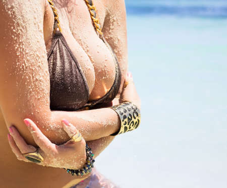 nude breasts: Woman with big breasts in bikini
