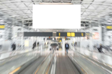 Empty advertising billboard in airport Imagens